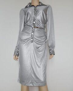 Hemdblusenkleid-Designerkleid-Business-Freizeit-Knielang-Langarm-Grau-Gr-42