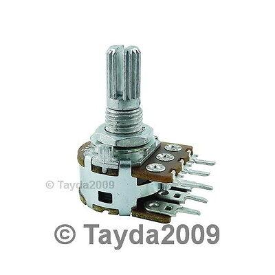 2 x 100K OHM Linear Dual Taper Rotary Potentiometers B100K 100KB POT ALPHA