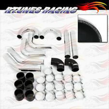 "BLACK 2.5"" Inches 63mm Turbo/Supercharger Intercooler Polish Pipe Piping Kit CY"