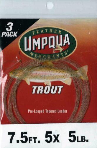 3 Pack 5 LB Umpqua fly fishing truite pré-Boucle Conique Chef 4X et 5X 7.5 Ft environ 2.72 kg environ 2.27 kg 6 lb environ 2.29 m