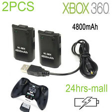 2 Pack Rechargeable Battery + USB Charge Cable Kit Black for Xbox 360 Controller