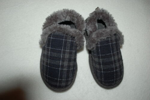 Toddler Boys Slippers GRAY /& BLUE PLAID In//Outdoor S 5-6 M 7-8 L 9-10 XL 11-12