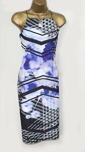 Lipsy Bodycon Kleid 10 blau lila schwarz Muster hoher Kragen Sommer Party Bnwt