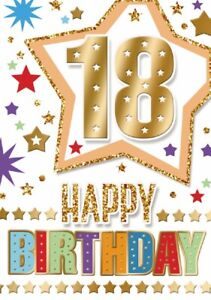 Happy 18th Birthday. Fun Star Design Card For Age 18 Male