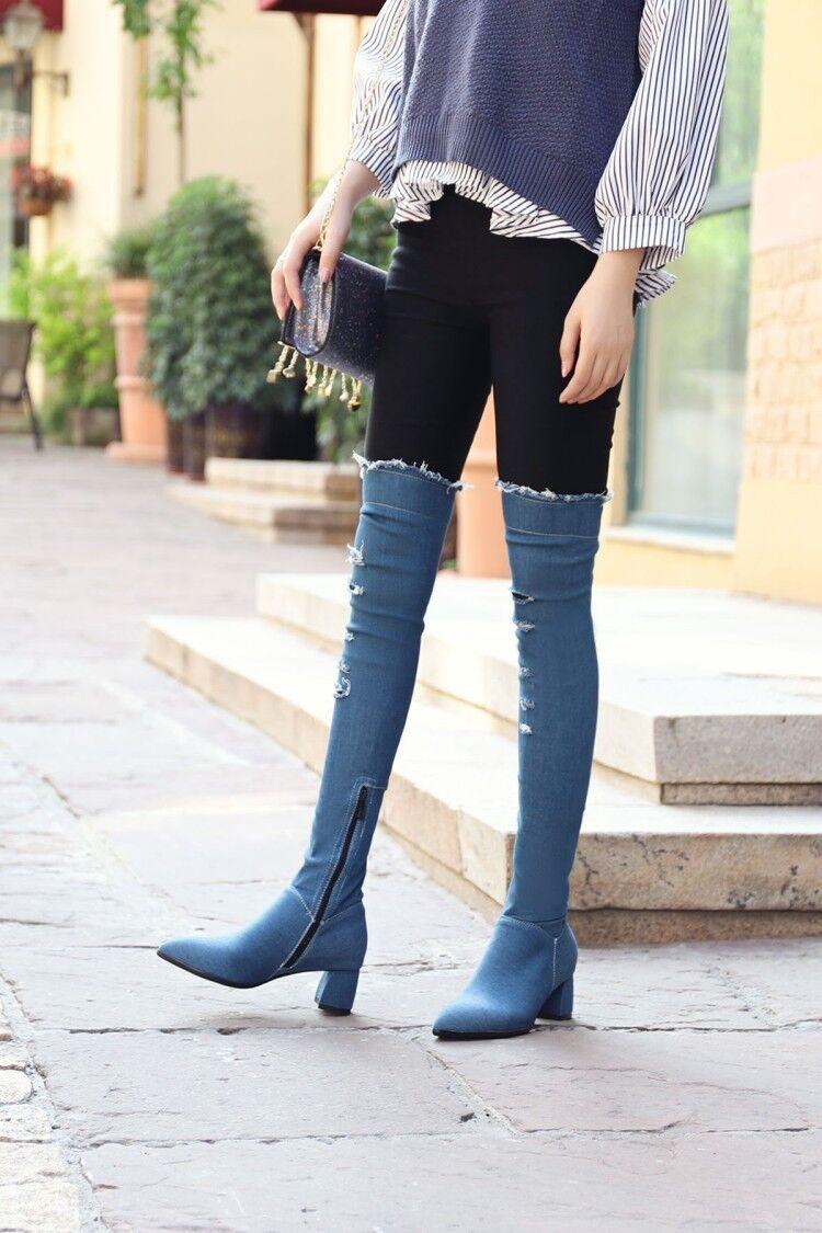 Women's Pointed Toe Over Knee High Boots Denim Side Zip Block Med Heel Shoes G98