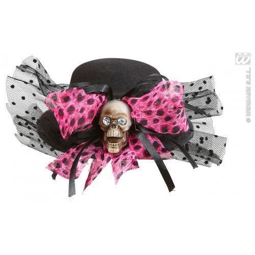 TESCHIO MINI NERO CAPPELLO CON FIOCCO ROSA Halloween Costume Accessorio