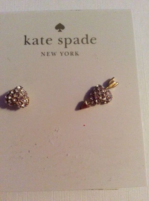 48 Kate Spade Be Mine Pave Heart Gold Tone Earrings K242x