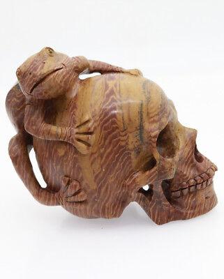 "Sensible 3.89"" Yellow Stripe Brown Jade Carved Frog Skull,realistic,crystal Healing K366 Stone Carvings"