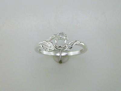 Round Three Leaf Solitaire Ring Setting Sterling Silver