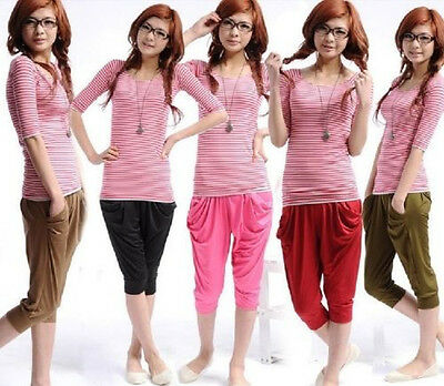 Women's Candy Colors New Capris Stretchy Fashion Leisure Haroun Pants Korean