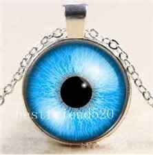 Blue Cat Eye Photo Cabochon Glass Tibet Silver Chain Pendant  Necklace