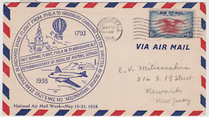 LETTRE-AERIENNE-USA-20e-FIRST-FLY-1938-PHILADELPHIE-WOODBURY-JP-BLANCHARD-BALLON