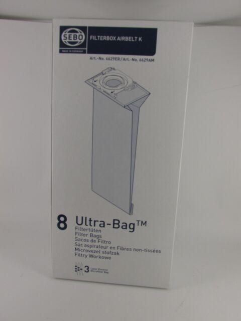 Sebo Ultra Bags 6629ER Fits K Series x 16 Dust Bags cleaning Genuine Flooring