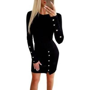 Damen Freizeit Bodycon Kleines Schwarzes Kleid Knopf Mini