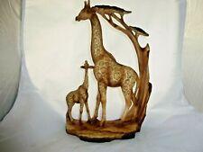 Wood Effect Giraffe and Calf Standing Statue Ornament Figurine 69265