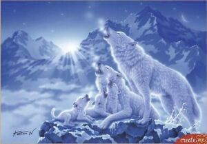 "Puzzles 1500 pieces 58*85cm ""Wolves and night mountains"" Red Cat"