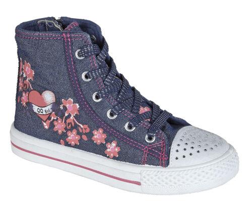 Chicas Fashion Navy Canvas Tobillo Hi Top Boots Bombas formadores Todos Los Tamaños Nuevos