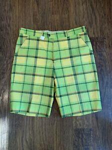 Loudmouth-John-Daly-Men-s-Plaid-Golf-Shorts-Yellow-Green-Size-36W