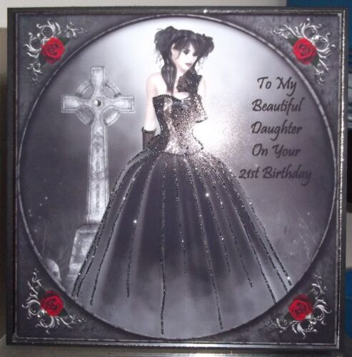 HANDMADE GOTHIC PERSONALISED DAUGHTER 21st BIRTHDAY CARD LADY IN BLACK BALL GOWN