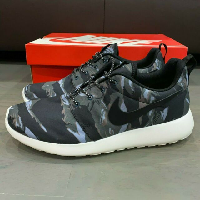 Nike Roshe Run GPX Black Sail Mercury Grey Tiger Camo 555445 001 Men's One Rare