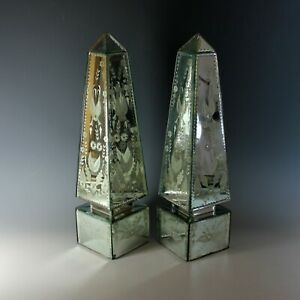 Antico-Coppia-di-Inciso-Veneziana-a-Specchio-Obelischi