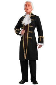 George Washington Costume w//MASK President Colonial Blue Uniform Adult Men B22