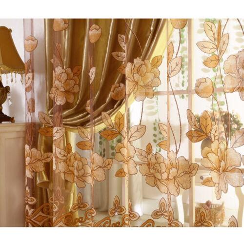 2 Pcs Tulle Voile Door Window Curtain Drape Panels Sheer Scarf Valances Grommet