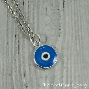 Details about Silver and Blue Evil Eye Charm Necklace - Protection Talisman  Amulet Pendant NEW