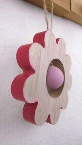 Blume Holz Rot Zum Hängen Deko Frühling Sommer Landhaus