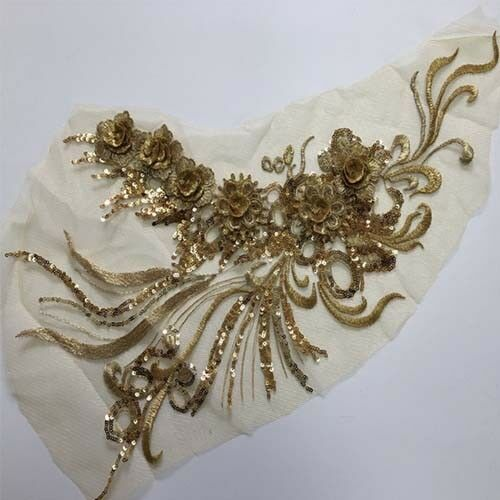 3D Flowers Sequins Embroidery Mesh Lace Applique For Dress Costume DIY Sewing