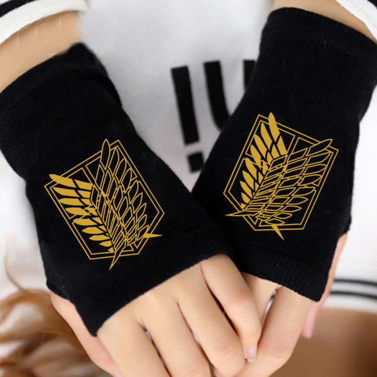 Fashion Anime Attack On Titan Fairy Tail Cotton Knit Gloves Cosplay Mitten Gifts