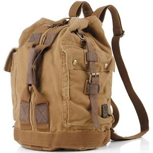690399832069 Image is loading Vintage-Men-039-s-Canvas-Leather-Backpack-Military-