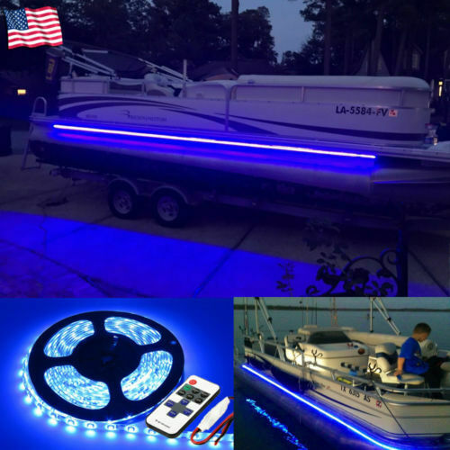 new arrival 3bc48 97496 5m Waterproof Marine LED Strip Lights Blue Flexible Light Strip for Boats  Car