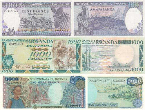 1988//1989 Rwanda 3 Note Set p26,p27,p29b UNC 100 to 5000 Francs