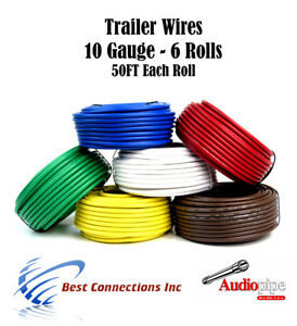6 Way Trailer Wires Light Cable for Harness 50 FT Each Roll 10 Gauge  Way Trailer Wiring Harness on 6 way trailer lights, 6 way trailer cable, 6 way trailer hitch wiring, 6 way ignition switch, 6 way trailer connector,