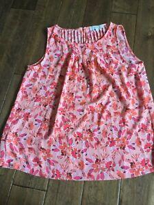 Ann-Taylor-Loft-Pink-Orange-Floral-Sleeveless-Blouse-Tank-Size-Medium