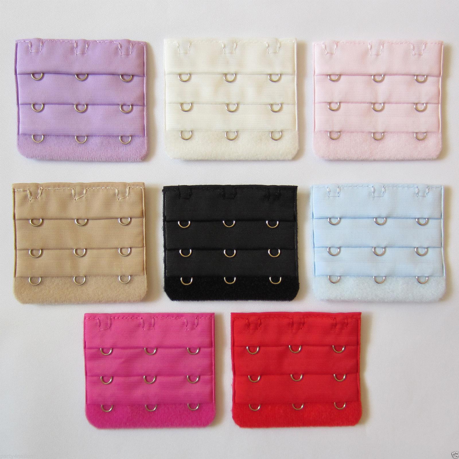 Ladies Bra Extender Bra Extension Strapless Underwear Strap 3Hooks (9 Colours)UK