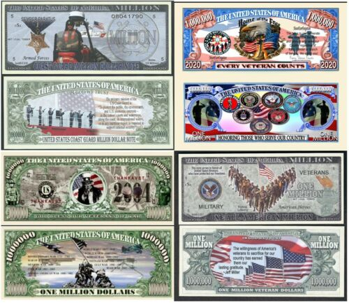Million Dollar Bill Funny Money Notes with FREE SLEEVES US Military Set of 20