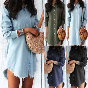 New-Women-Casual-Blouse-Demin-Long-Sleeve-Fashion-T-Shirt-Loose-Tops-Mini-Dress