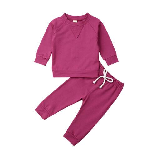 UK Toddler Newborn Baby Girl Boy 2PCS Autumn Clothes Set Tops+Pant Cotton Outfit