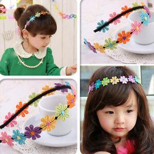 Neu-Baby-Maedchen-Haarband-Stirnband-Kopfband-Haar-Blumen-Bunt-Niedlich-Nett-O9N4