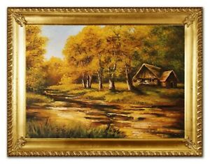Oil-Painting-Landscape-Forest-Log-Hiking-with-Frame-63x84-CM