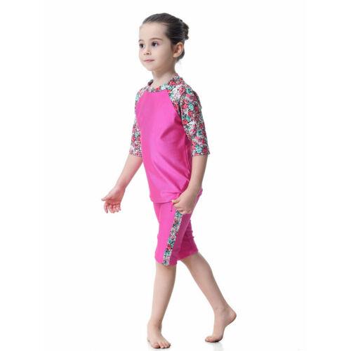 Kids Girls Swimwear Muslim Modest Swimsuit Tops+Pants Beachwear Burkini Swimming