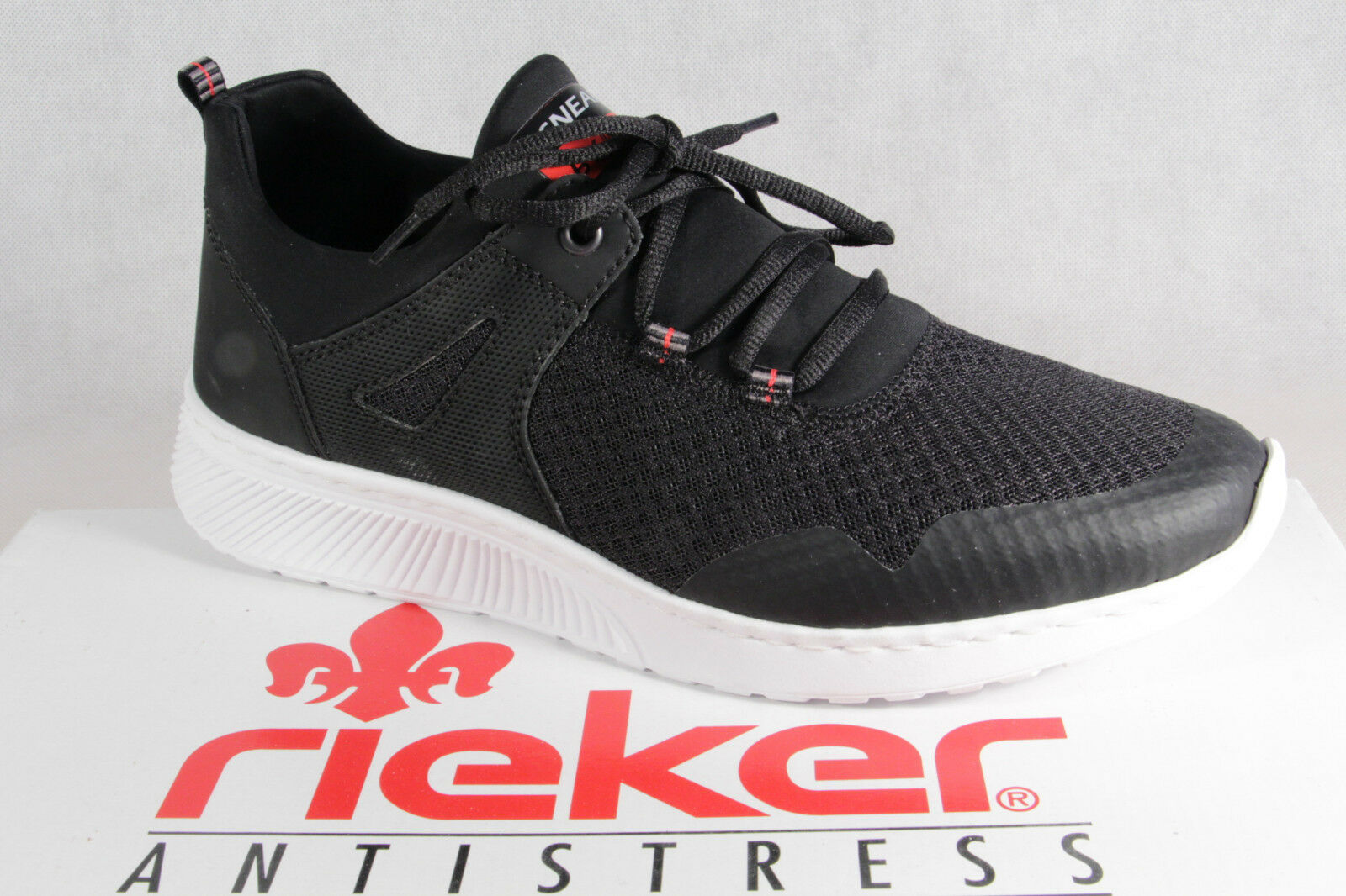 Rieker Slip on shoes Lace up Sneaker Black New