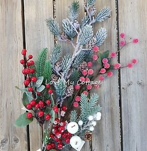 Christmas Tree Spray.Details About Frosted Berries Pine Cones Xmas Tree Decoration Spray Pick Stems Snow White Red