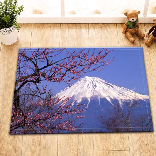 Japan Mount Fuji Cherry Shower Curtain Liner Polyester Fabric Bathroom Mat Set