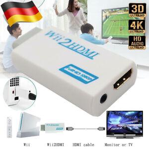 Nintendo Wii HDMI Adapter Konverter Stick 1080p Full HD TV Audio 3,5mm AV Kabel