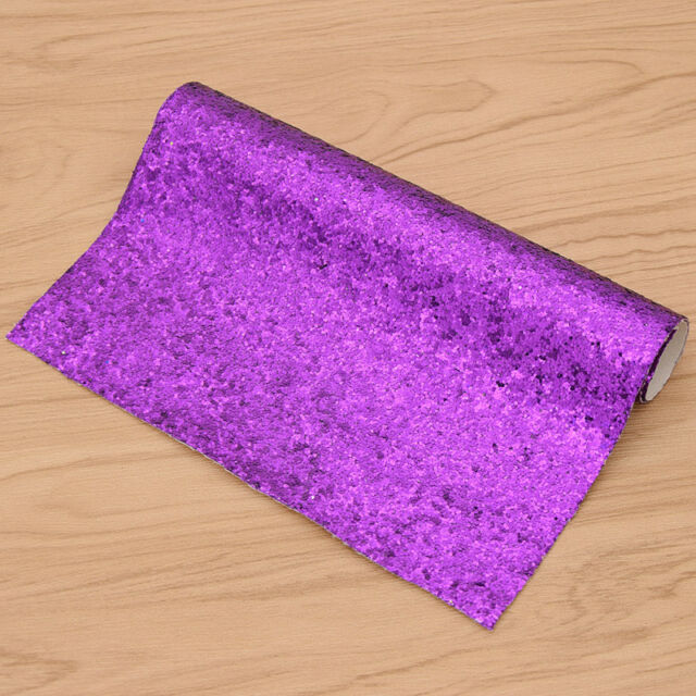 Purple Glitter Synthetic Leather Fabric A4 Sheet Diy Sewing Craft