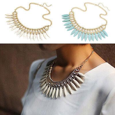 BOHO Women Fashion Crystal Pendant Chain Choker Chunky Statement Bib Necklace
