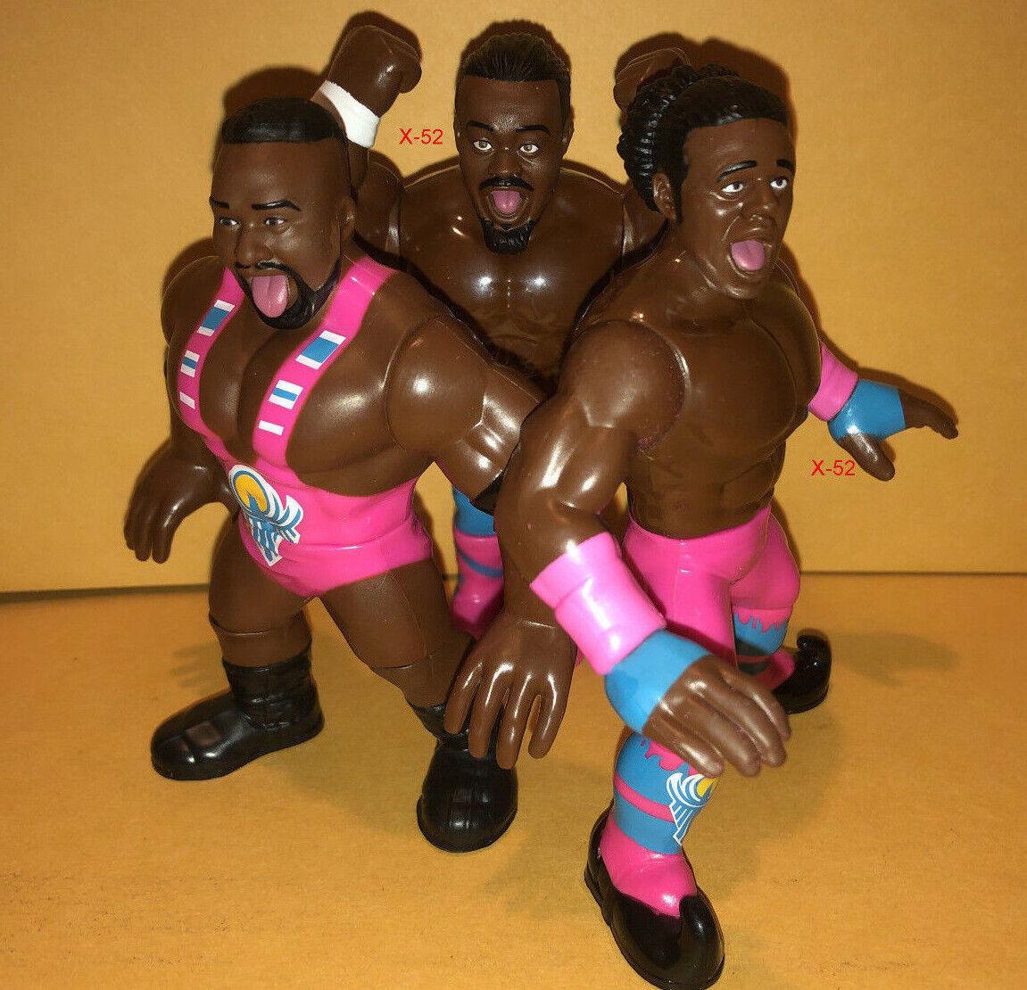 WWE RETRO 3 figure lot BIG E + kofi KINGSTON + xavier WOODS toy THE NEW DAY wwf